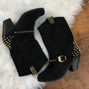 Betsey Johnson Yendell Black Suede Studded Boots 8